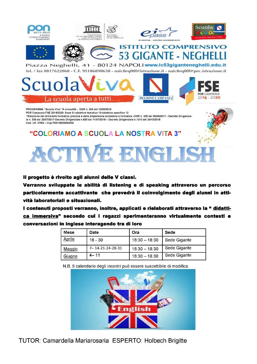 """Locandina Scuola Viva 3  """"COLORIAMO A SCUOLA ..."""