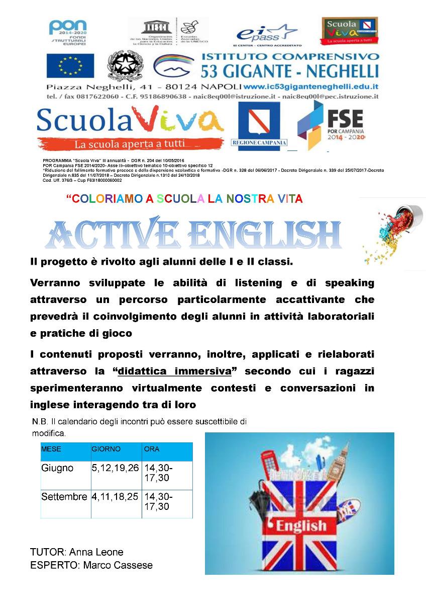 """Locandina Scuola Viva 3  """"COLORIAMO A SCUOLA LA NOSTRA VITA 3"""" progetto"""