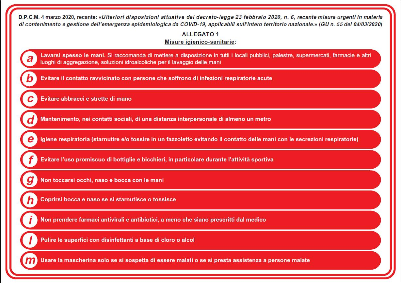Misure igienico - sanitarie previste dall'allegato 1 del DPCM del 4 marzo 2020