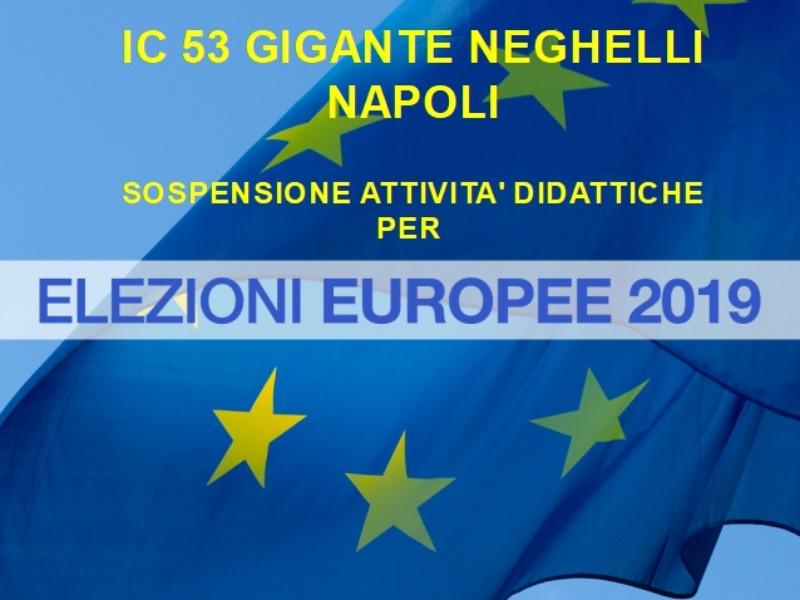 Oggetto: sospensione attività didattiche dei plessi Gigante e Collodi- Elezioni Europee 26 maggio