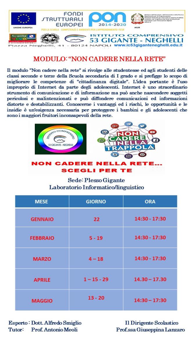 """PON 2014/2020 Modulo """"Non cadere nella Rete"""" in..."""