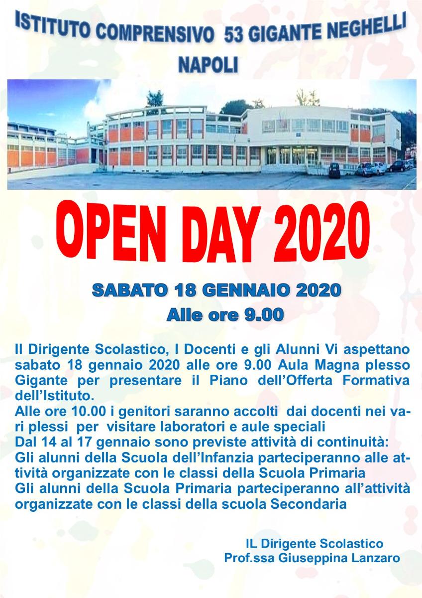 Open Day 2020 Attività di continuità  sede Gi...